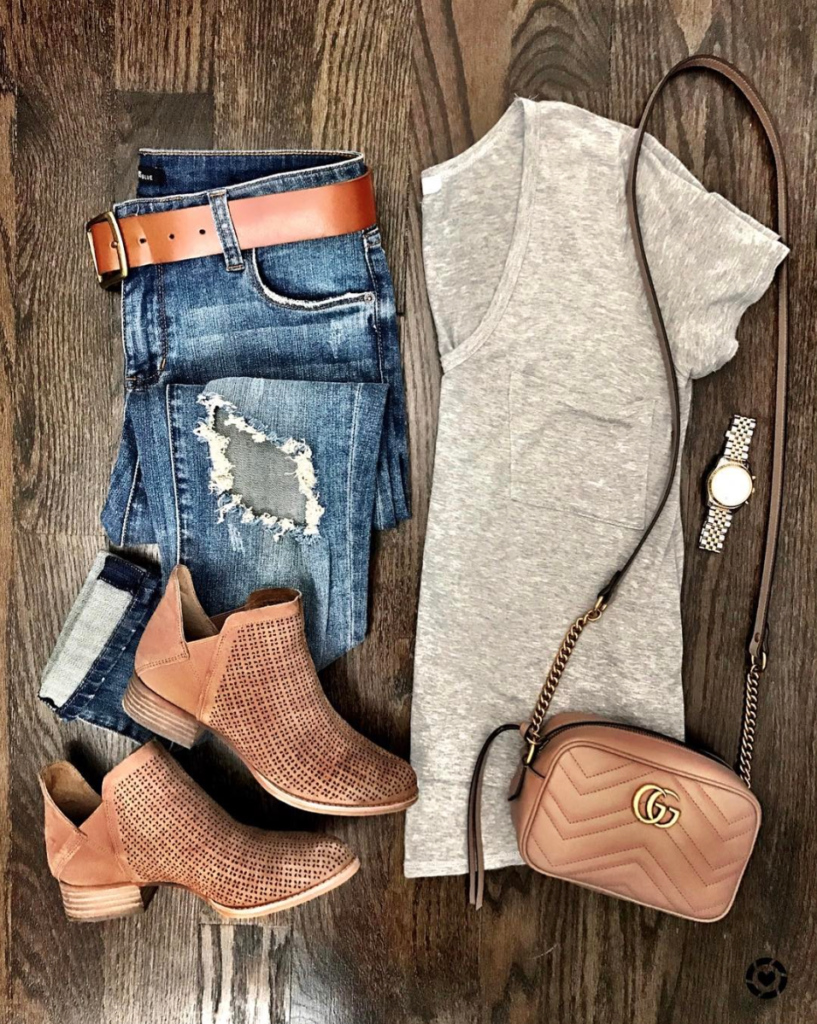 Basic gray tee outfit boyfriend jeans