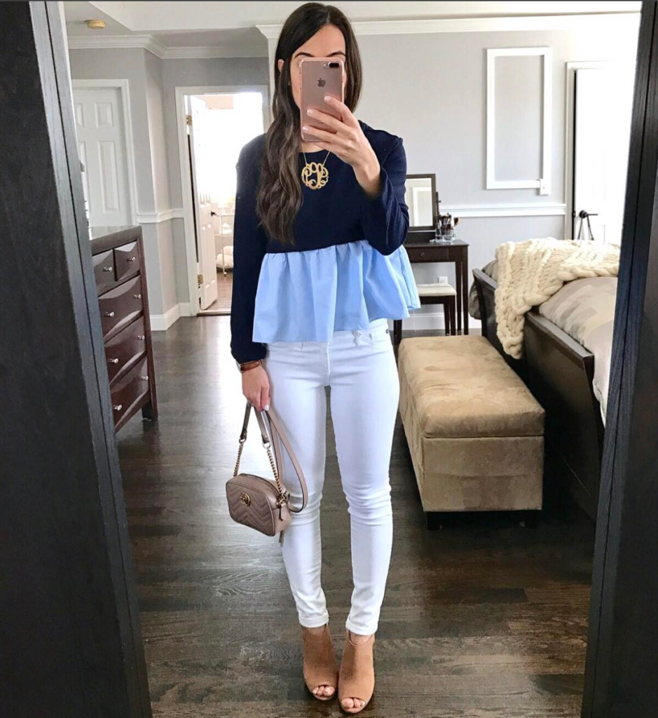Blue peplum top white jeans outfit