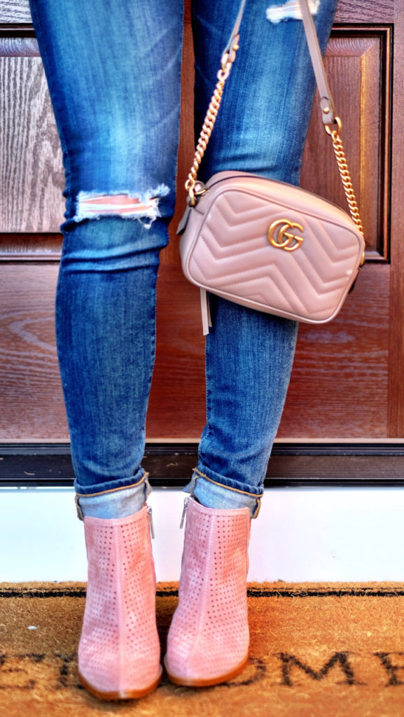 Blush pink booties outfit and Gucci Marmont