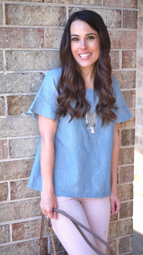 Chambray and pink outfit