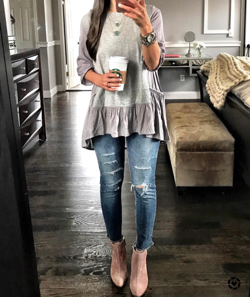Chicwish gray ruffle peplum tunic outfit