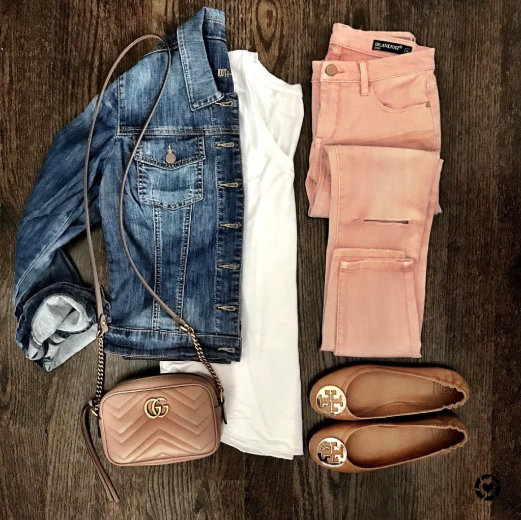 Denim Jacket and blush pink jeans outfit idea