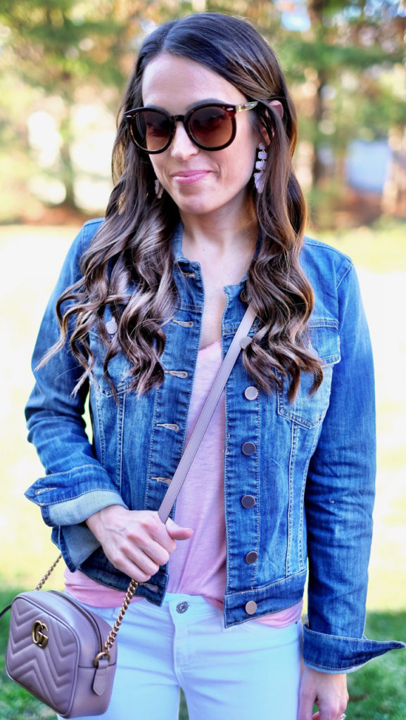 Denim jacket and pink tee outfit