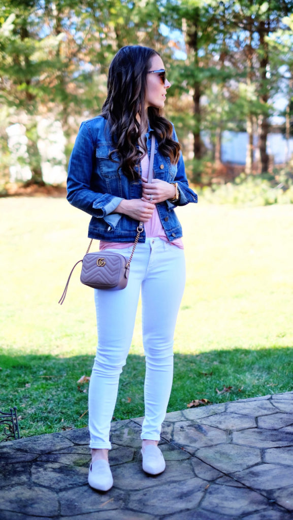 Denim jacket and white jeans outfit