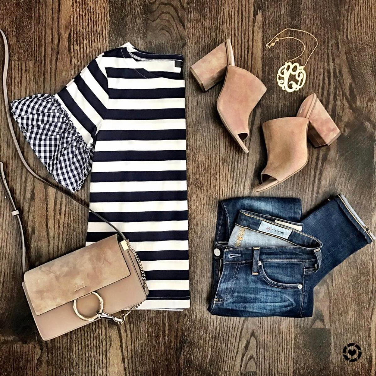 Gingham and Striped Ruffle Sleeve Top