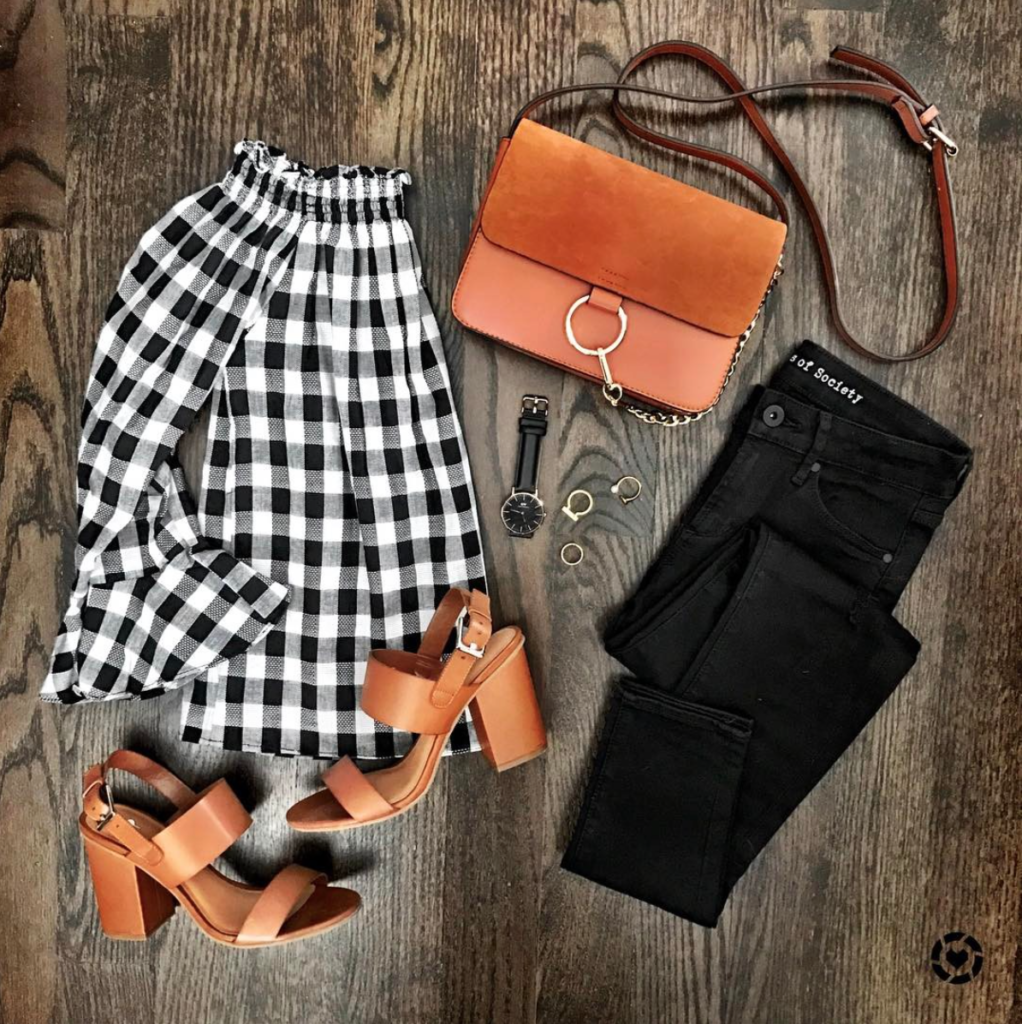 Gingham off the shoulder shirt outfit with cognac sandals