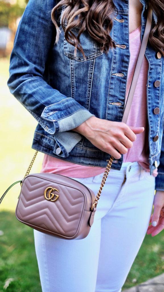 Gucci marmont mini bag in nude