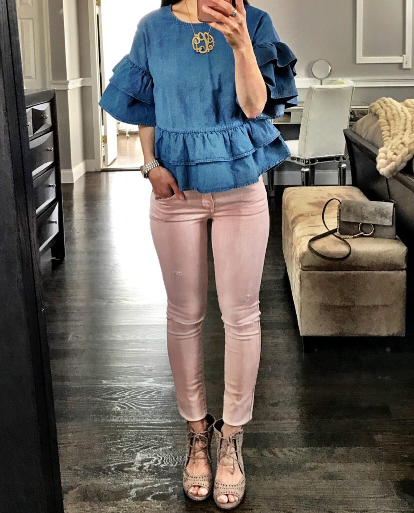 Ruffle Chambray top outfit with blush pink jeans