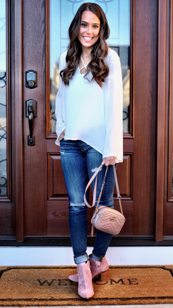 White top outfit and pink booties