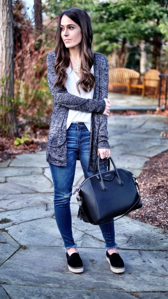 black cardigan outfit