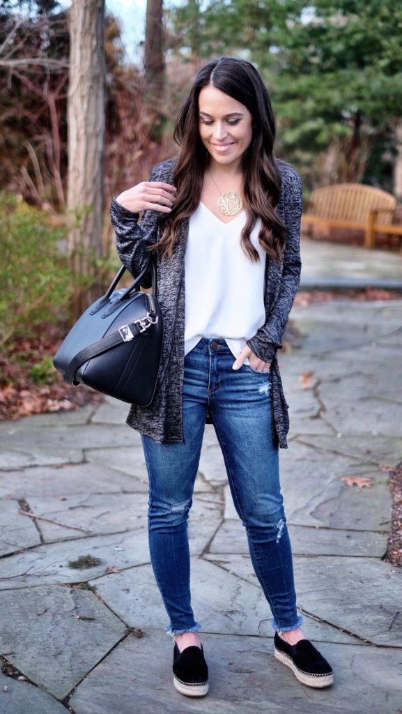 black espadrille flats outfit idea