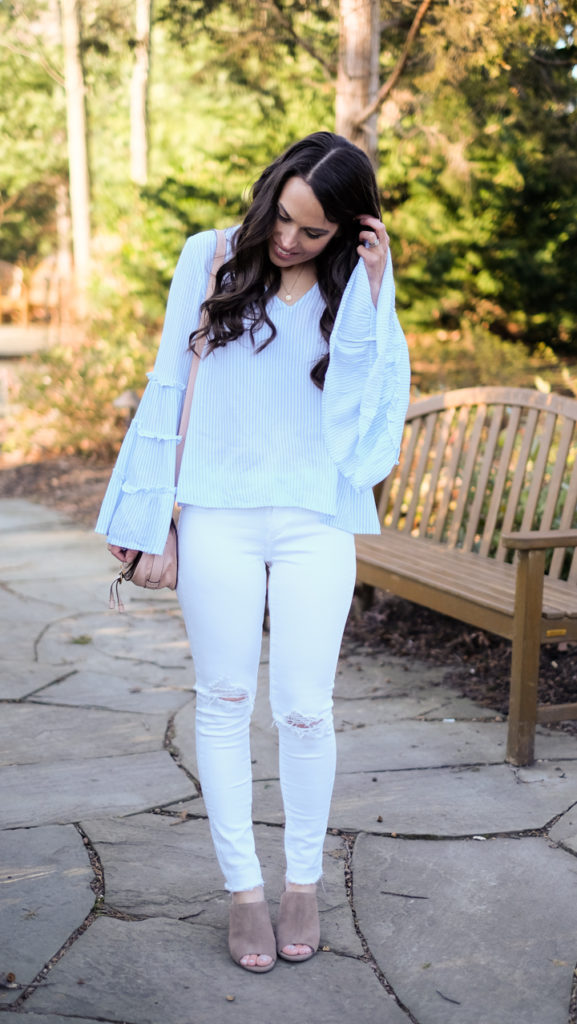 blue and white stripe top outfit