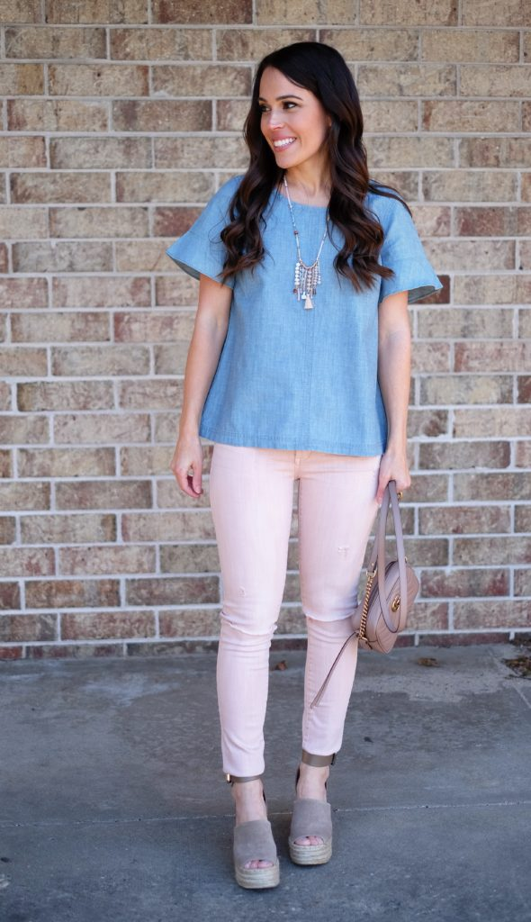 blush pink jeans spring outfit