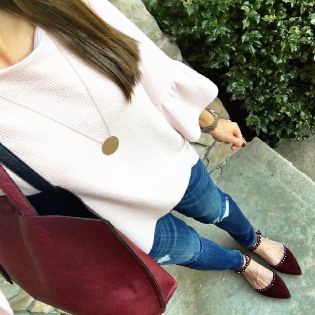 blush pink ruffle sleeve outfit idea