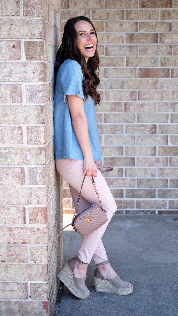 denim chambray shirt outfit idea