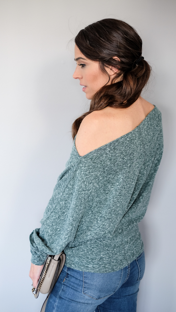 Off shoulder hoodie