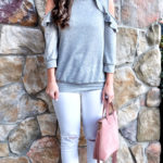 gray pink and white outfit