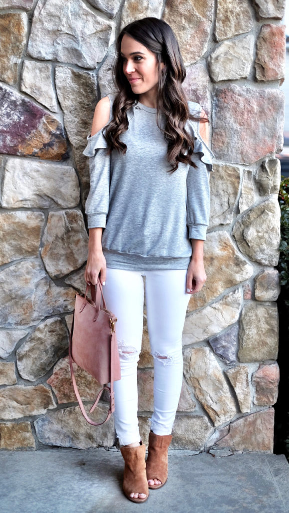 gray sweatshirt outfit idea