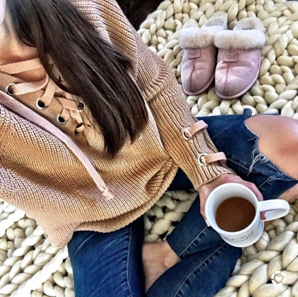 lace up sweater outfit