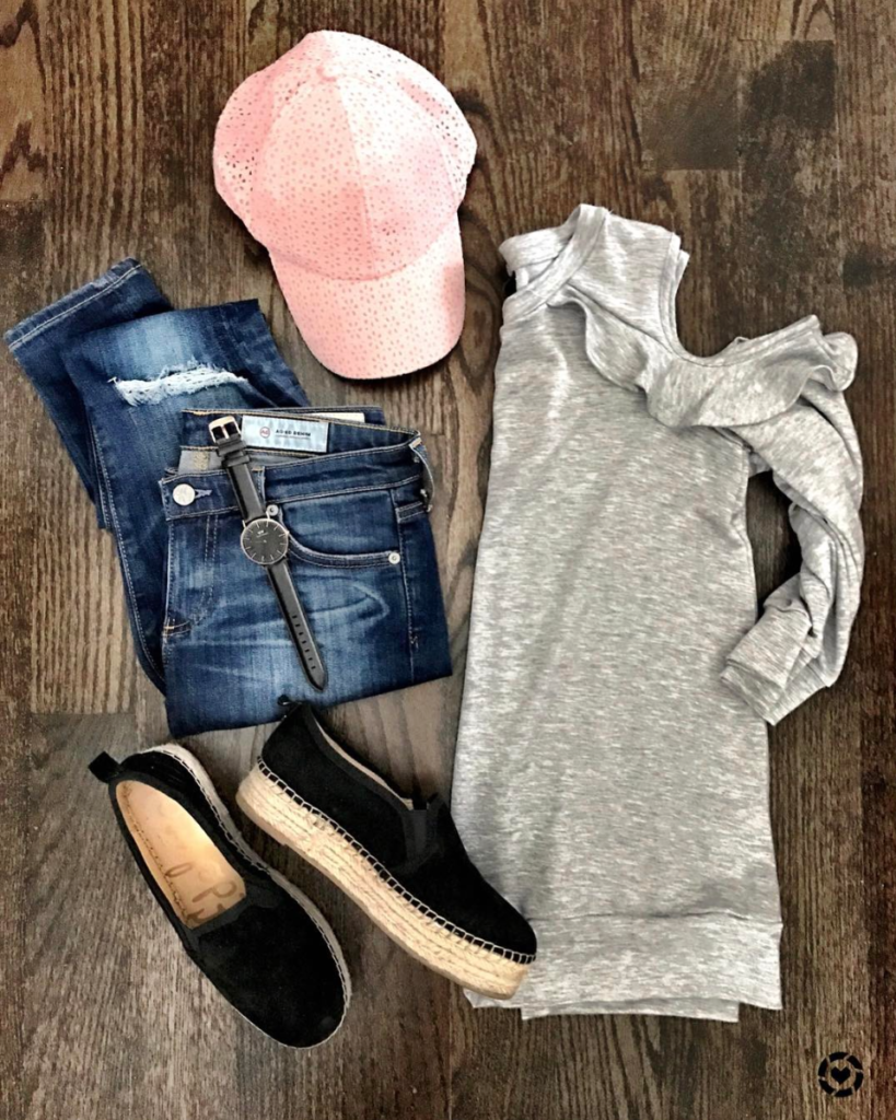 ruffled cold shoulder sweatshirt outfit