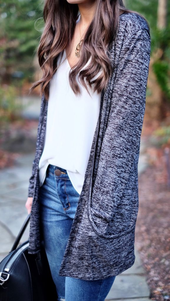 shein black pocket cardigan