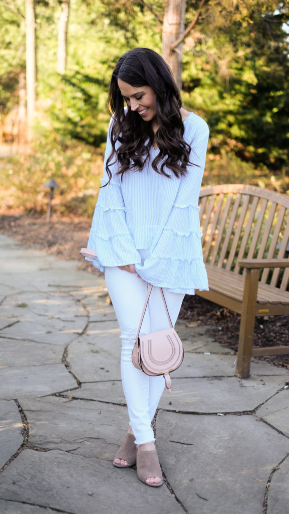 stripe bell sleeve top outfit