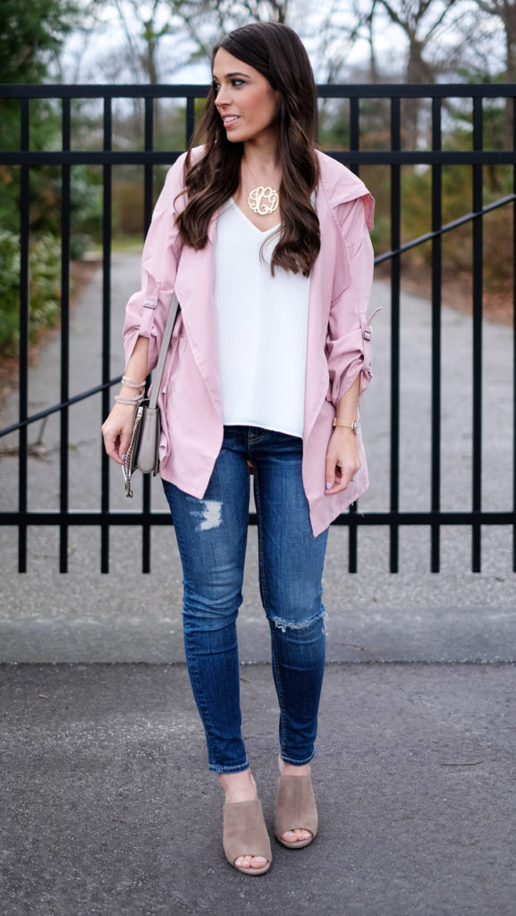 Casual Spring pink jacket outfit