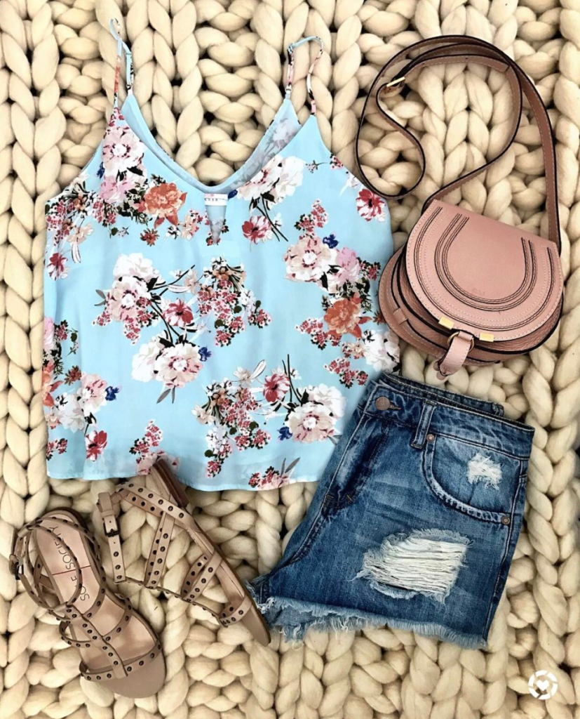 Floral tank and cut off shorts outfit