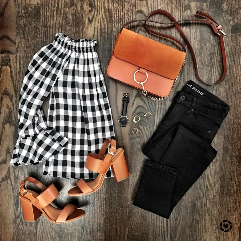 Gingham off the shoulder top outfit and cognac accessories