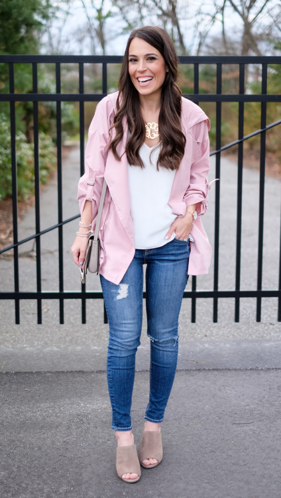Pink utility jacket outfit