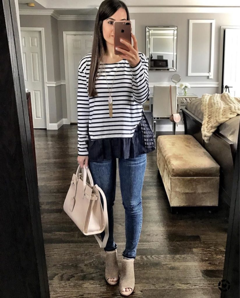 Striped peplum top outfit