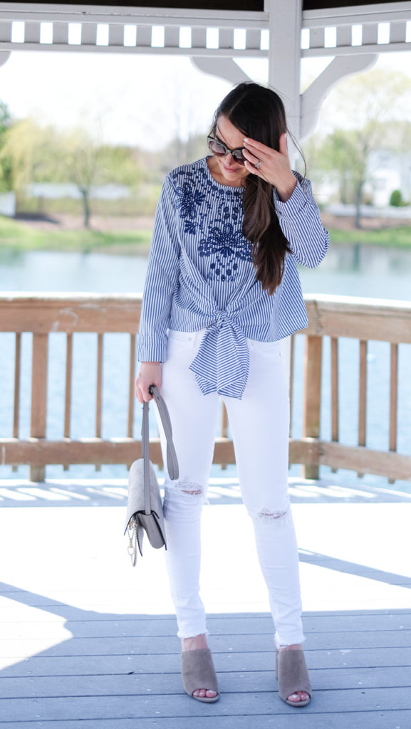 Summer blue and white outfit
