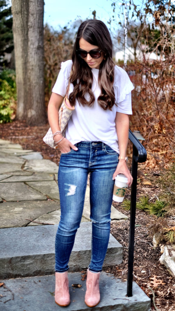 Topshop ruffle tee and jeans spring outfit