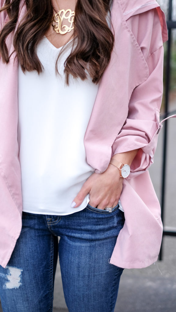 White cami and pink jacket outfit