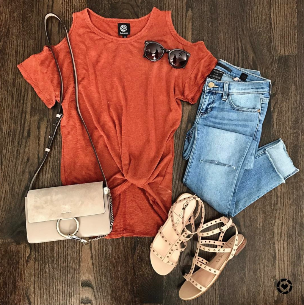 cold shoulder tunic outfit