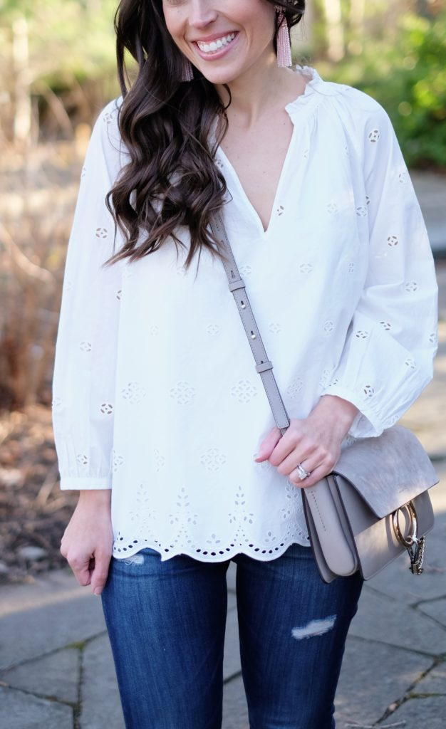 eyelet top outfit