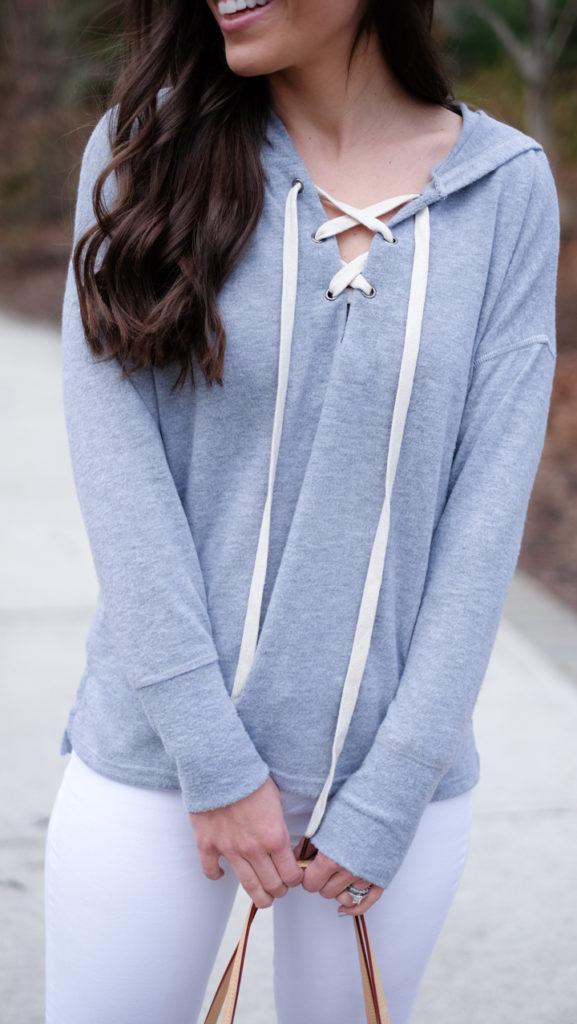 gray lace up sweatshirt