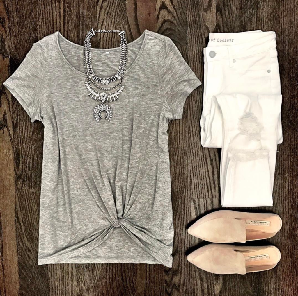 gray twist front tee outfit
