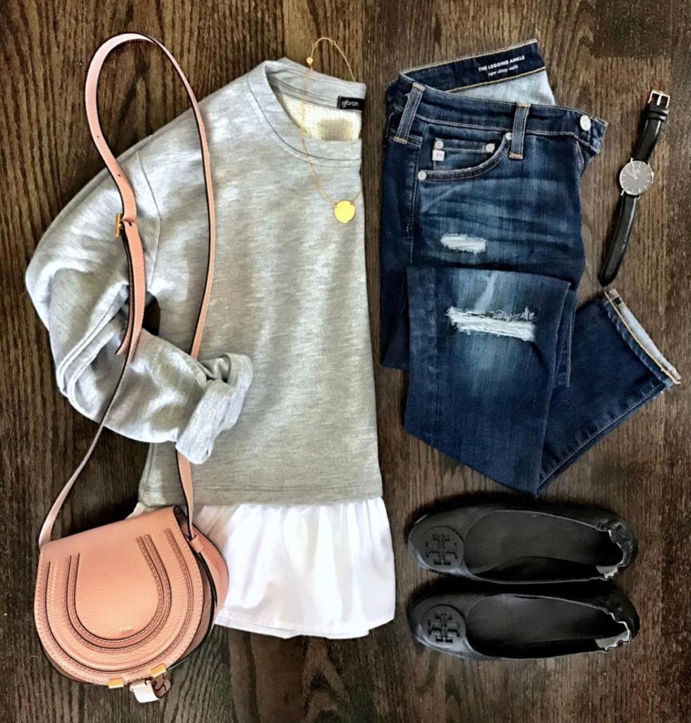 layered sweatshirt outfit