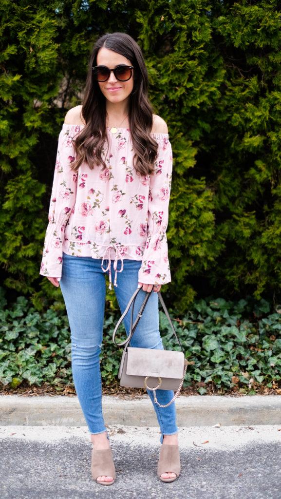off the shoulder floral spring outfit