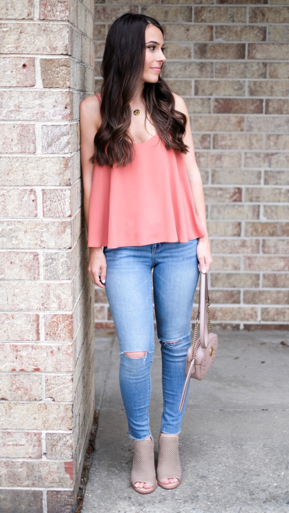 peach camisole outfit