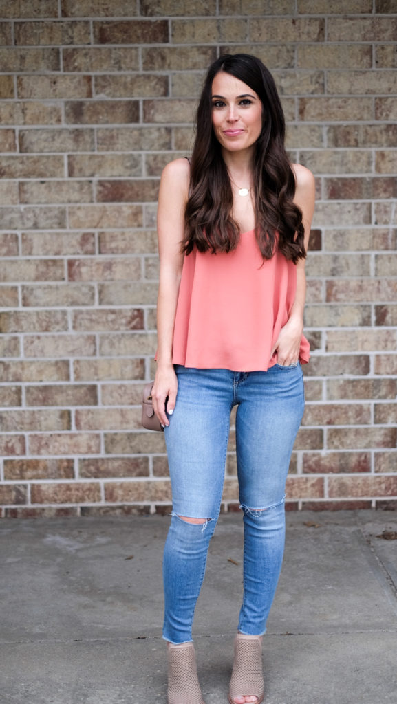 peach top summer outfit