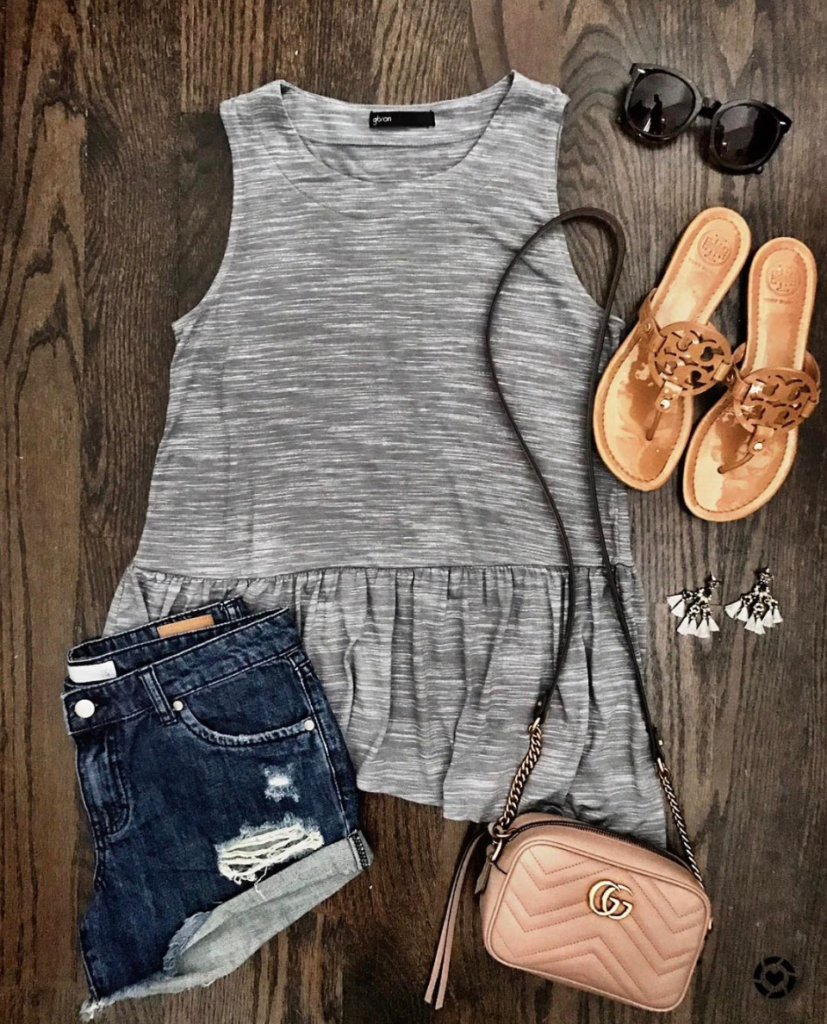 peplum tank and cut off shorts outfit