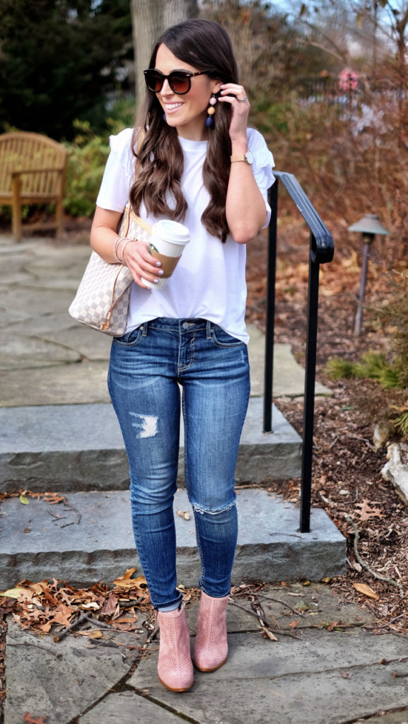 pink booties and white tee outfit