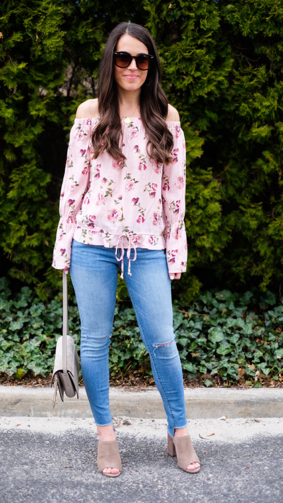 pink floral top outfit