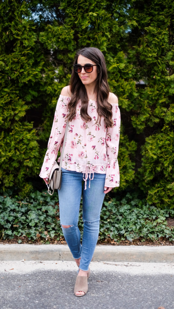 pink floral top spring outfit