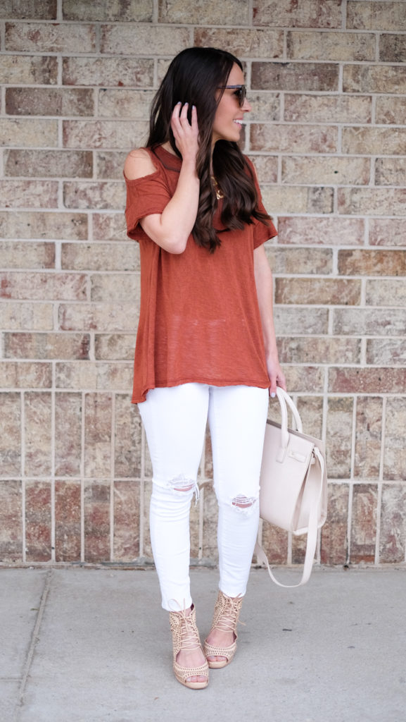 rust colored shirt outfit