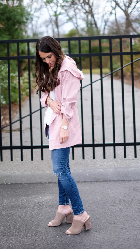 spring pink jacket outfit