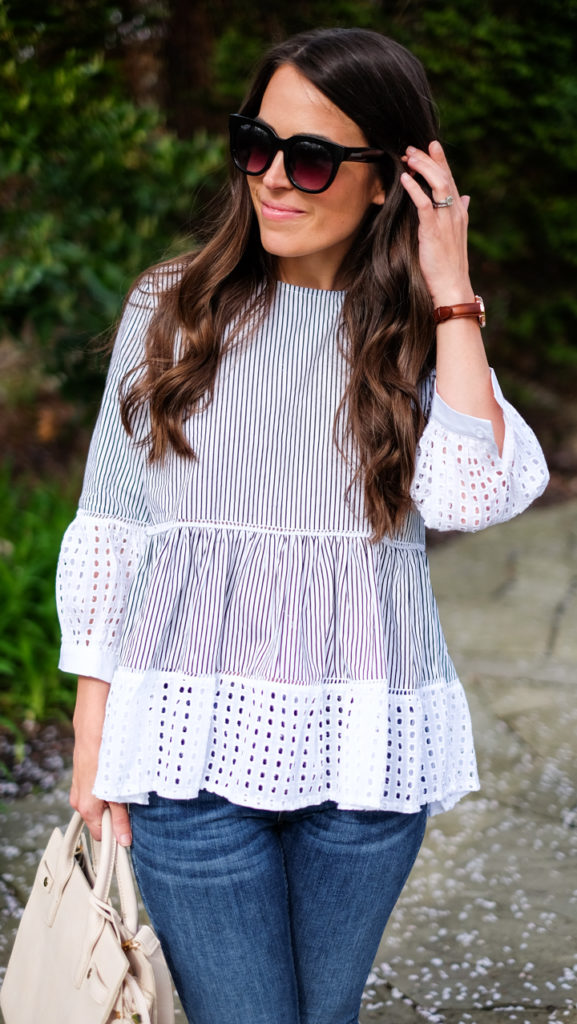 spring striped shirt outfit