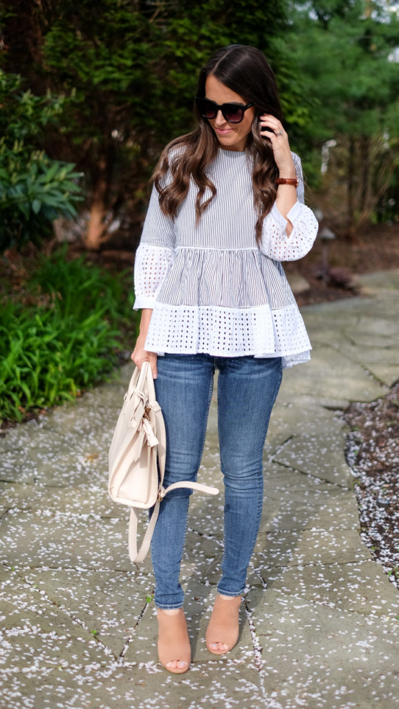 striped and eyelet peplum